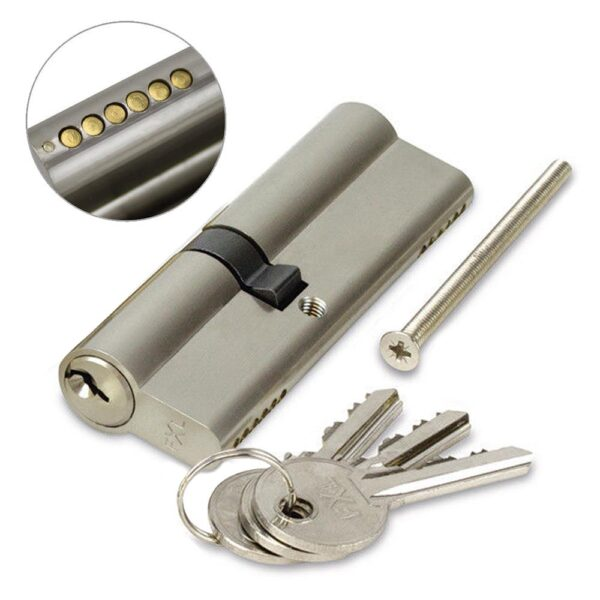 FortXLocks Anti-Drill Euro-Cylinder 6 Pin Nickle Door Lock