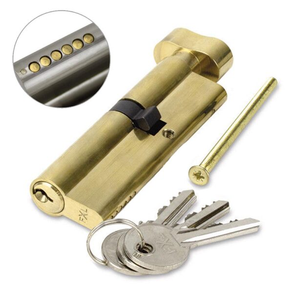 FortXLocks Anti-Drill Euro-Cylinder 6 Pin Thumb Turn Brass Door Lock