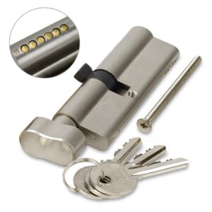 FortXLocks Anti-Drill Euro-Cylinder 6 Pin Thumb Turn Nickel Door Lock